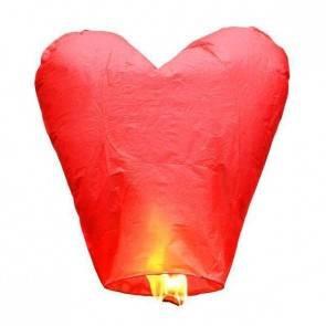 Piros repülő lampion ECO SZÍV jókívánság lámpás, Kívánság lampion